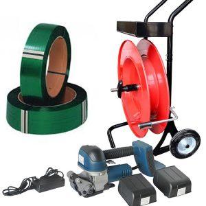 kit d'outils de cerclage de batterie Courroie en PET + distributeur + batterie + chargeur